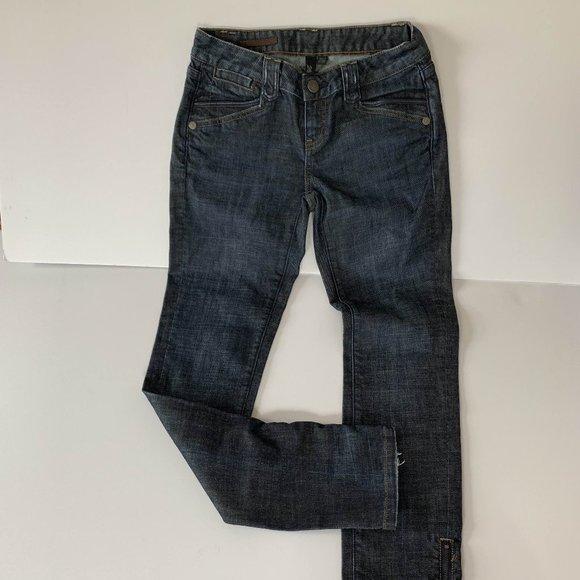 Club Monaco Stove Pipe Jean leather trim sz 26